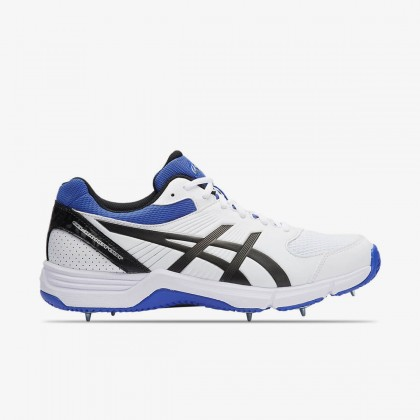 Asics Gel-100 Not Out White/Onyx/Blue Spike Cricket Shoes Online at Best Price, Reviews