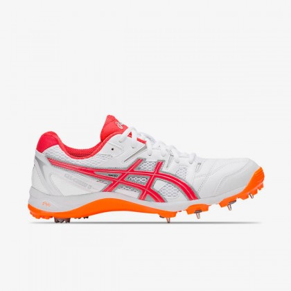 Asics Gel-Gully 5 White/Red Alert Spike Cricket Shoes Online at Best Price, Reviews