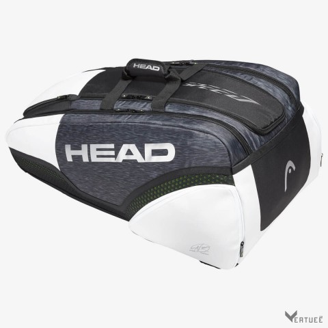 HEAD Djokovic 12R Monstercombi Black/White Tennis Kit Bag (12 Racquets)