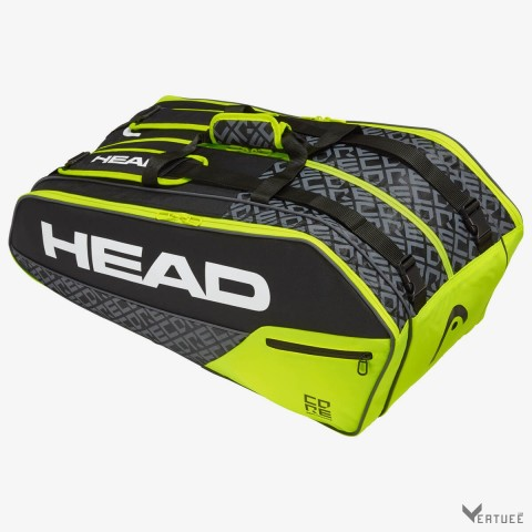 HEAD Core 9R Supercombi Black/Neon Yellow Tennis Kit Bag (9 Racquets)